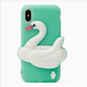 BNWT Kate Spade IPhone X silicon swan case